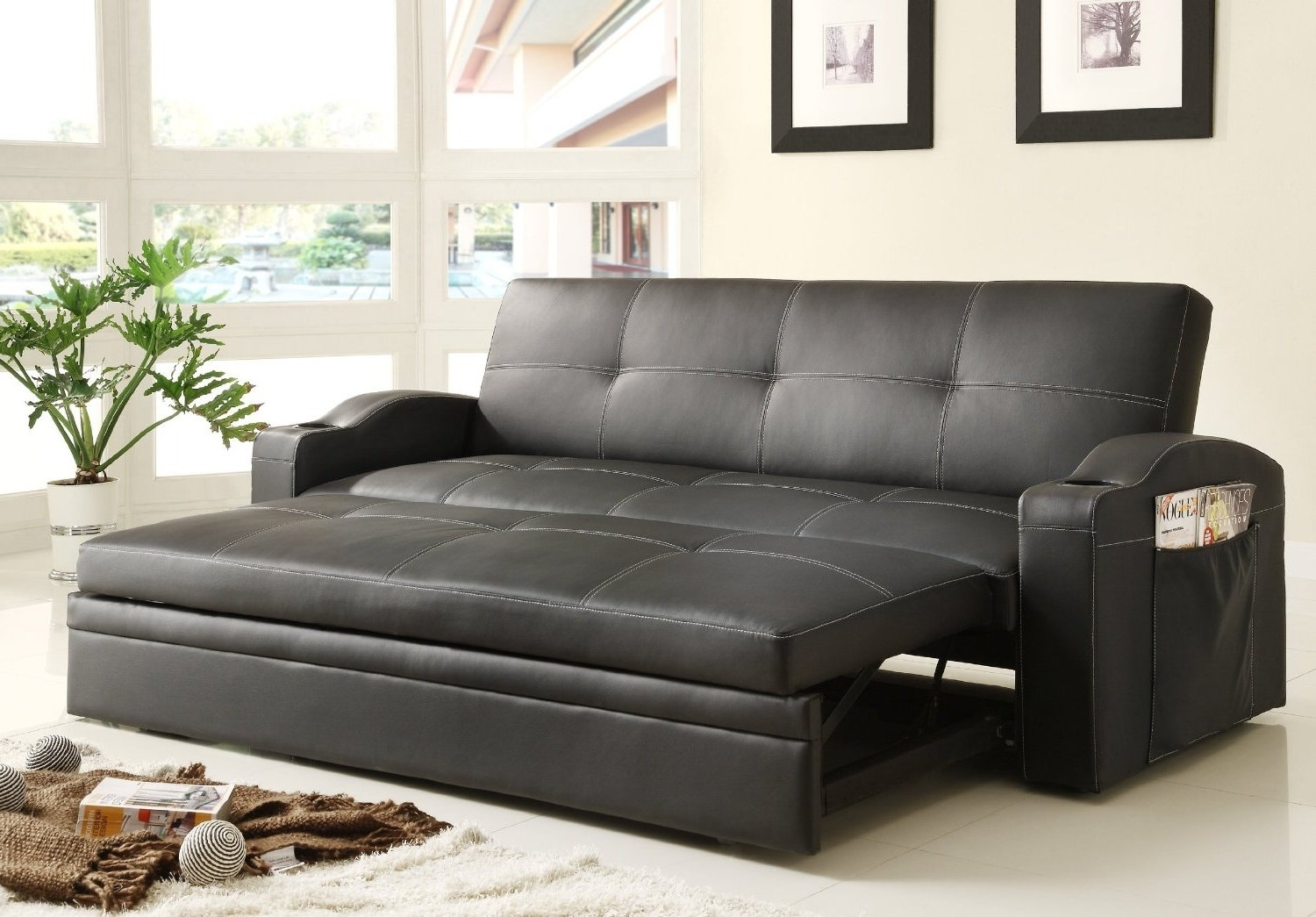 Famous Adjustable Queen Size Sofa Bed Black Color Upholstered In Black Bi Pertaining To Adjustable Sectional Sofas With Queen Bed (View 3 of 15)