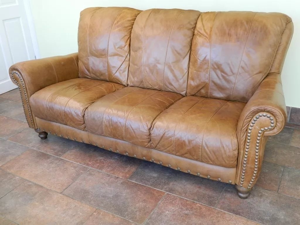 Famous Aniline Leather Sofas Intended For Vintage Tan Distressed Aniline Leather Sofa Chesterfield Ranch (View 7 of 15)
