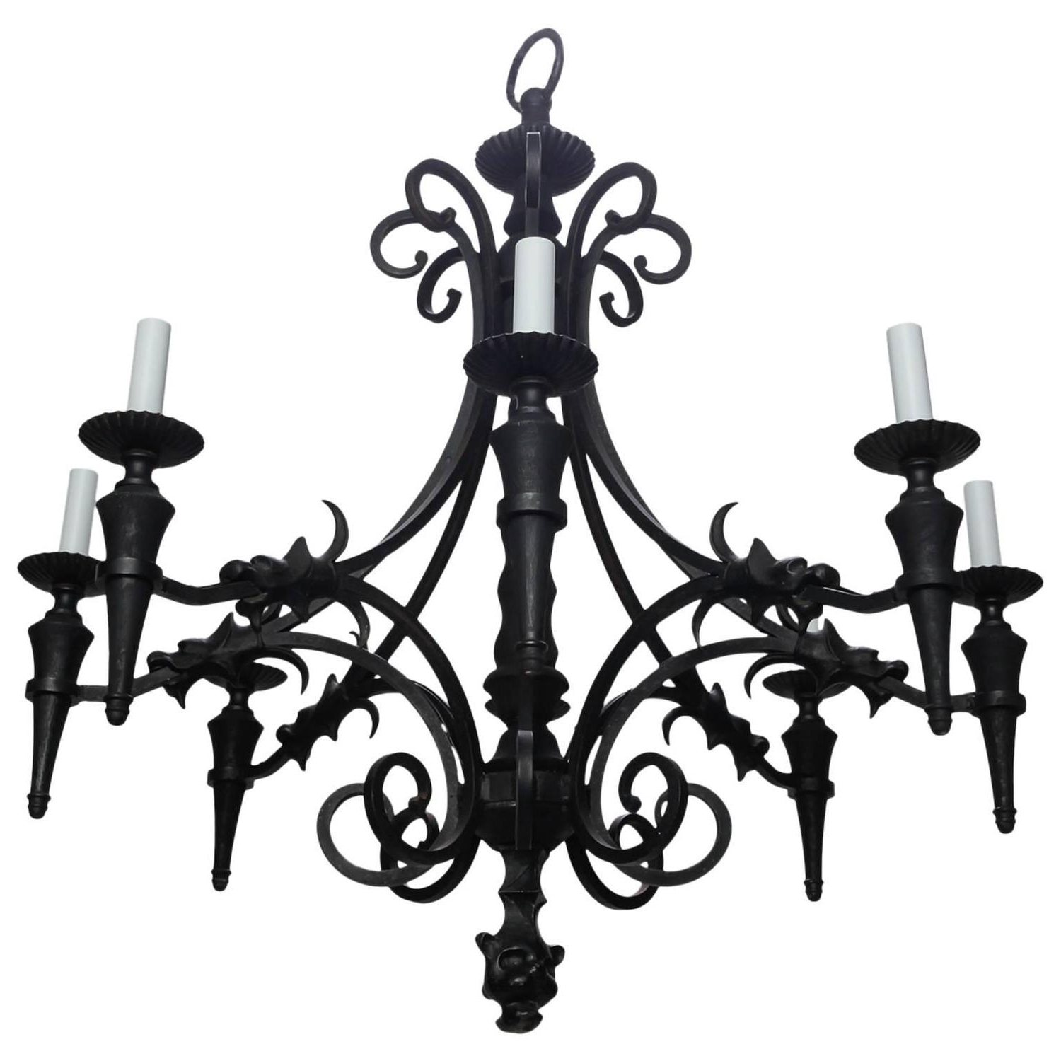 Famous Antique Style Chandeliers With Regard To Vintage Gothic Style Spanish Iron And Wood Eight Arm Chandelier (View 13 of 15)