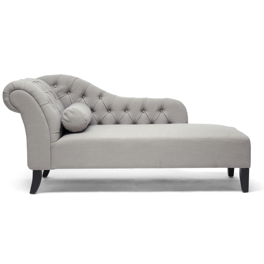 Famous Baxton Studio 'aphrodite' Tufted Putty Gray Linen Modern Chaise Within Overstock Chaise Lounges (View 4 of 15)