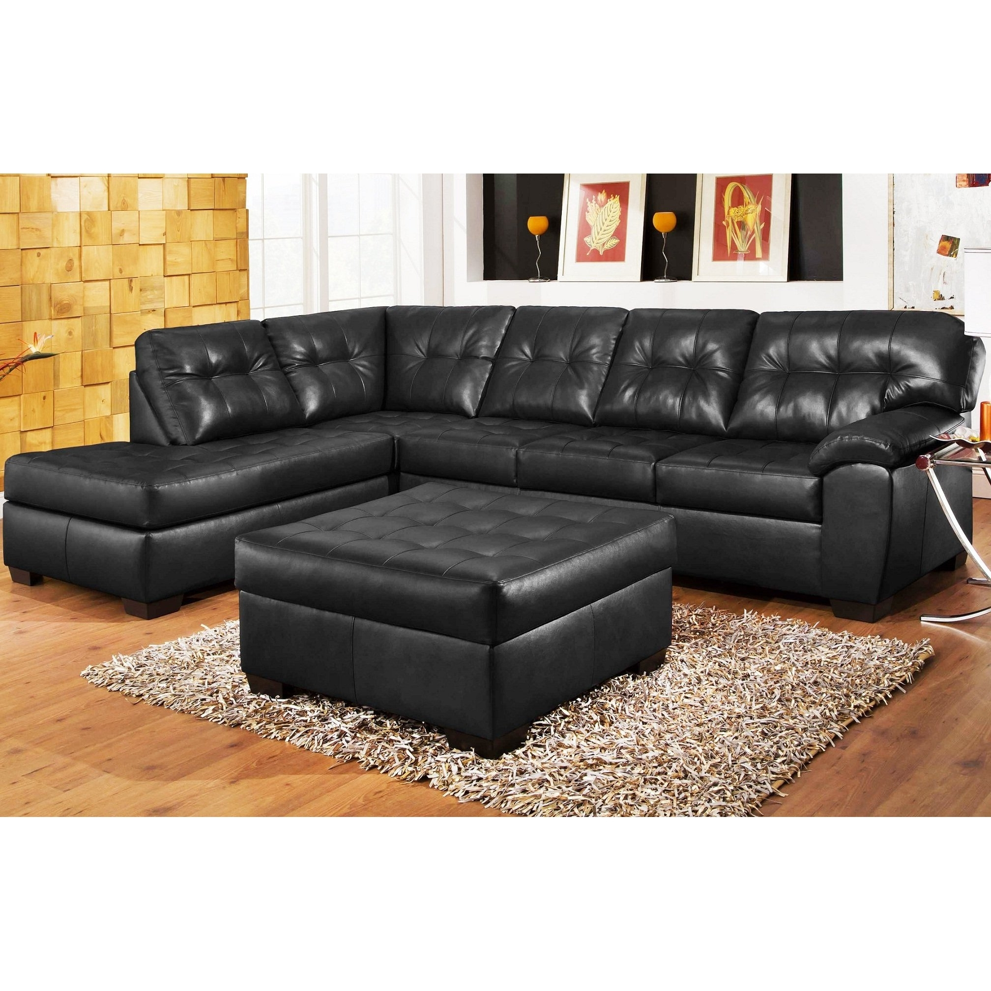 Famous Black Leather Sectionals With Ottoman Throughout 3Pc Black Leather Sectional Sofa , Chaise , Ottoman Set (View 11 of 15)