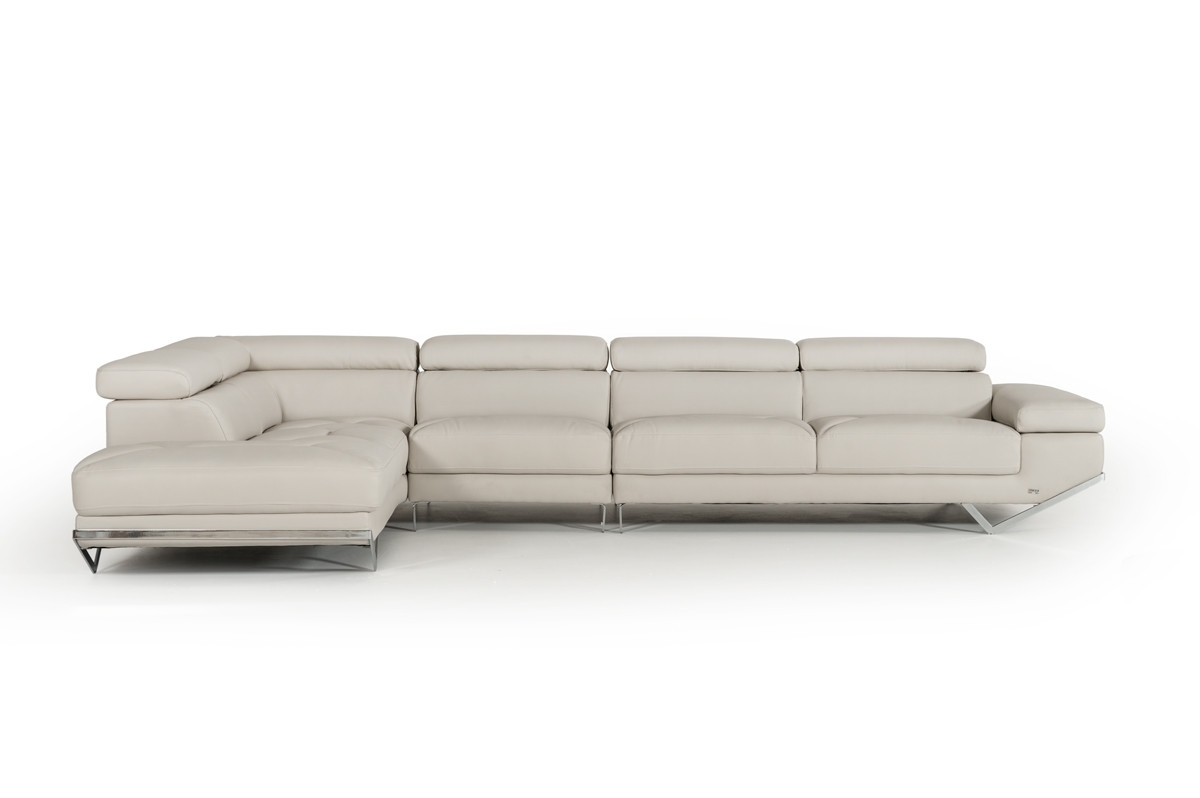 Famous Casa Quebec Modern Light Grey Eco Leather Large Sectional Sofa Intended For Quebec Sectional Sofas (View 4 of 15)