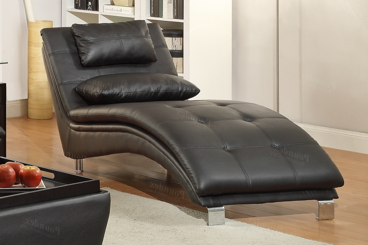 Famous Chaise Lounge Sofas With Duvis Black Leather Chaise Lounge – Steal A Sofa Furniture Outlet (View 6 of 15)