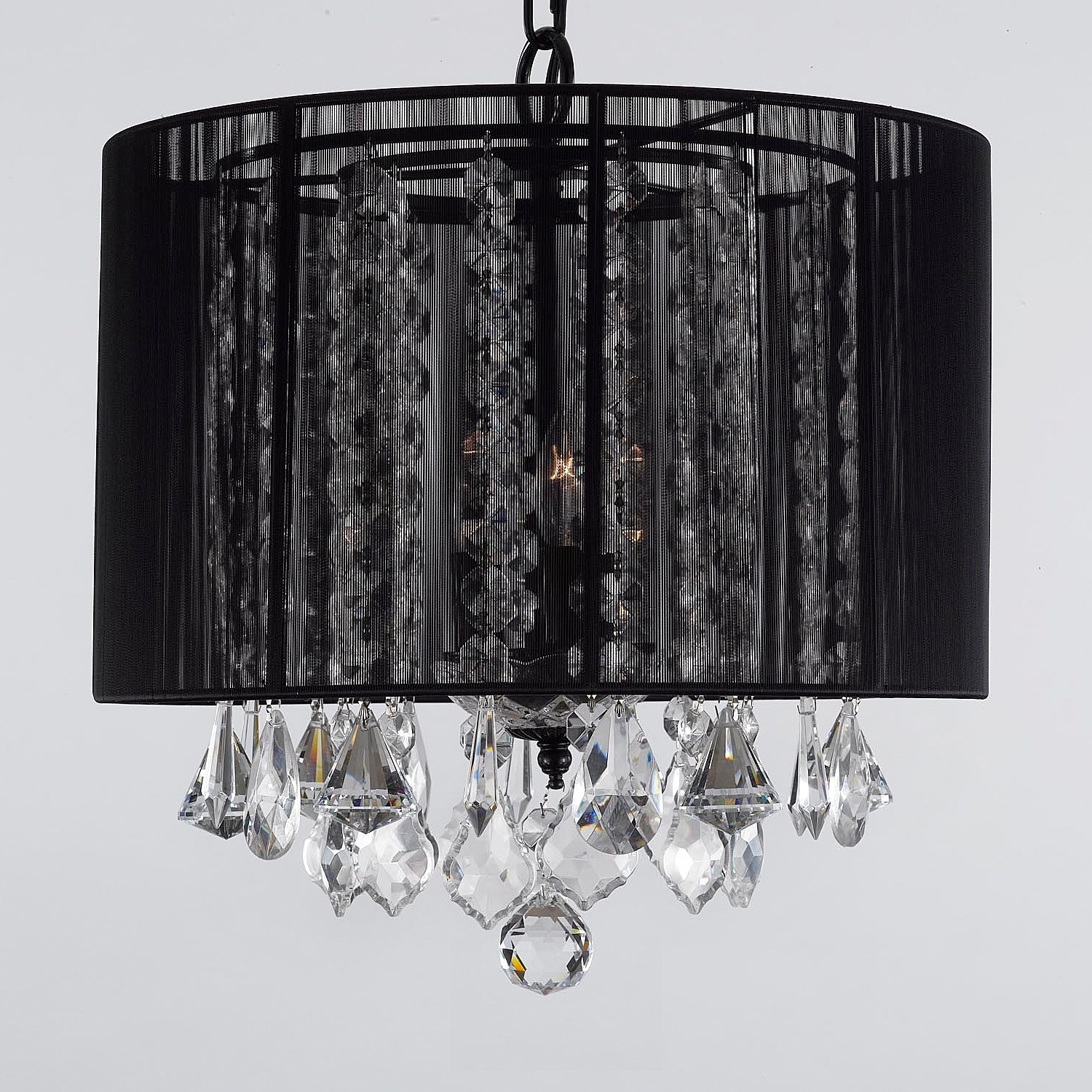 Famous Chandeliers With Black Shades With Regard To G7 Black/604/3 Gallery Chandeliers With Shades Crystal Chandelier (View 8 of 15)
