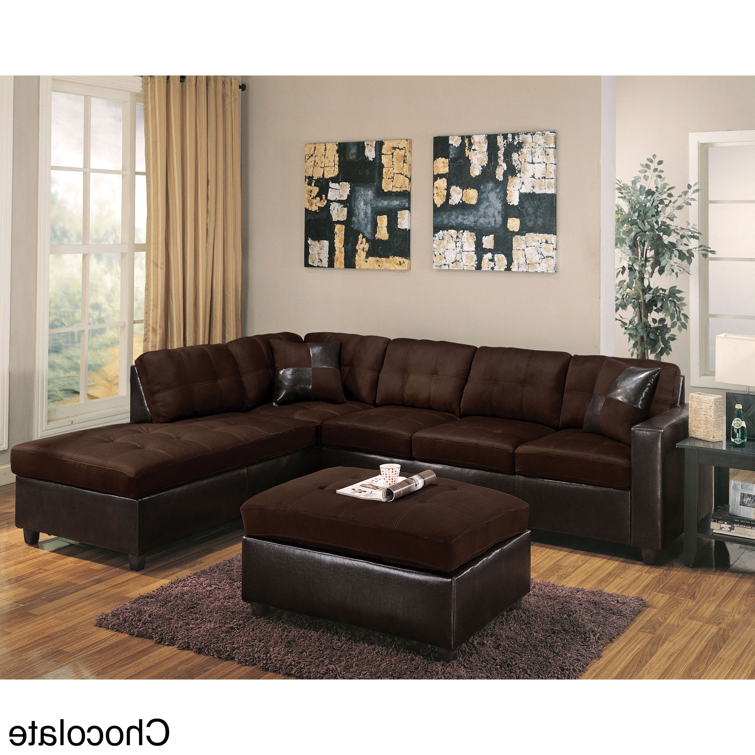 Famous Chocolate Sectional Sofas Within Milano Reversible Sectional Sofa In Chocolate Easy Rider And (View 5 of 15)