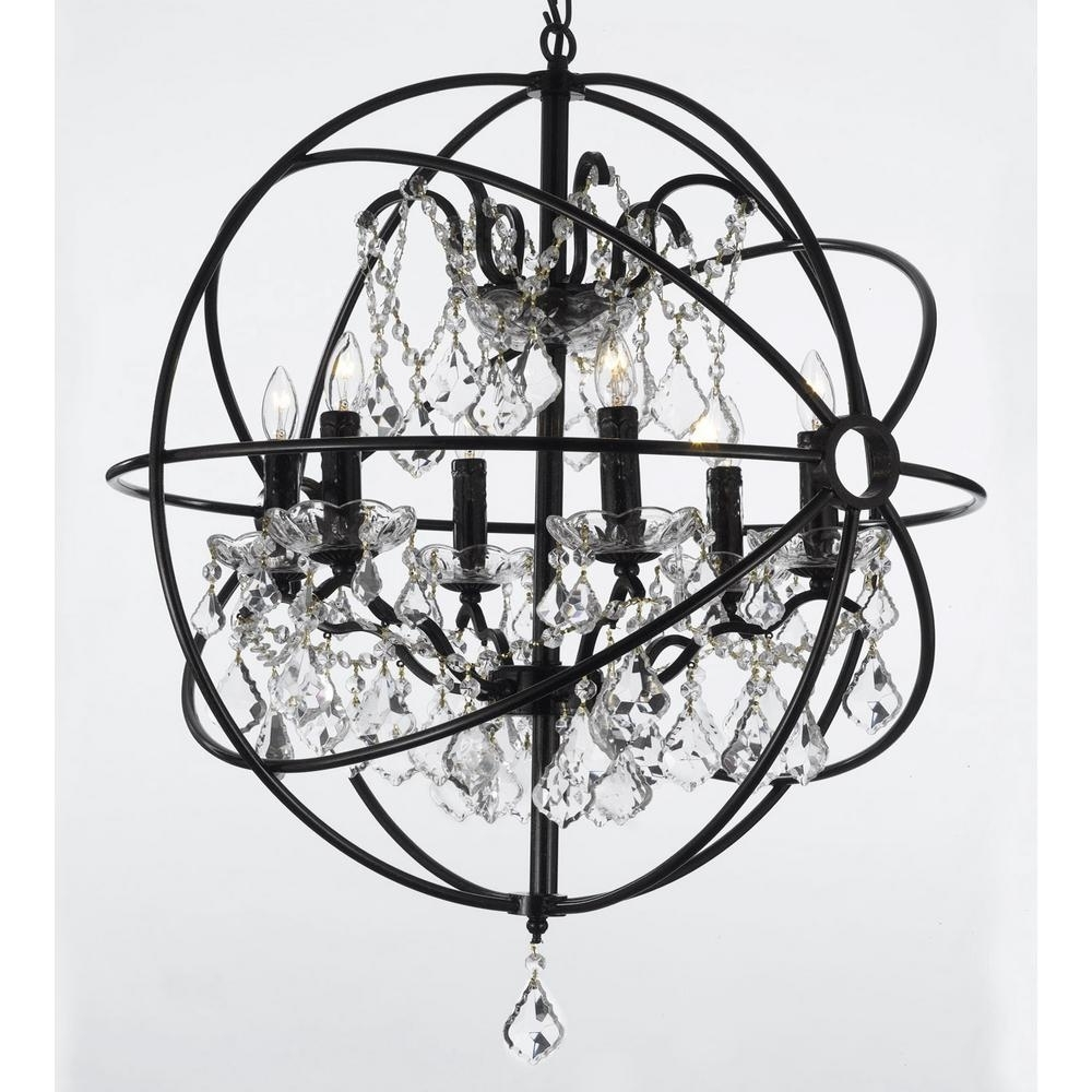 Famous Contemporary Black Chandelier Within Contemporary 6 Light Orb Iron And Crystal Black Chandelier T1  (View 7 of 15)