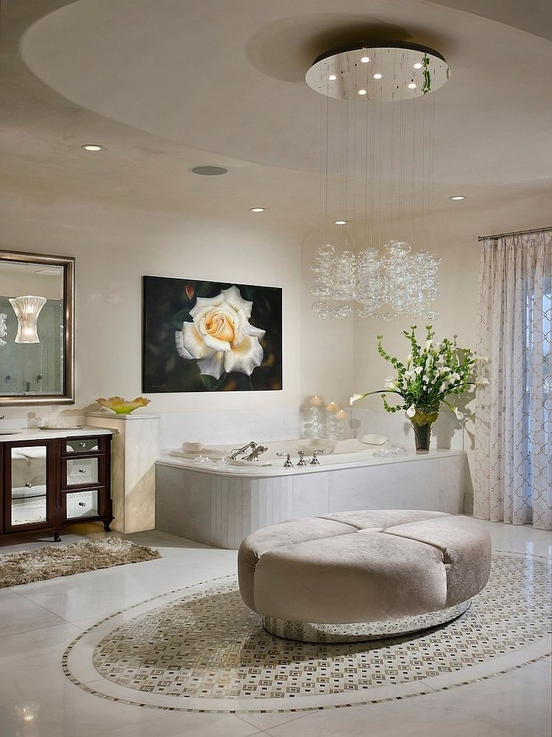 Famous Crystal Bathroom Chandelier With Regard To Bedroom & Bathroom: Brilliant Bathroom Chandeliers For Contemporary (View 7 of 15)