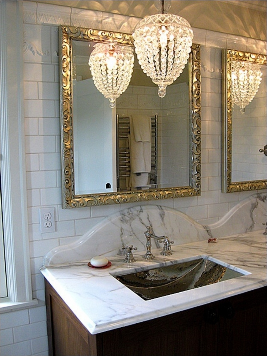Famous Crystal Chandelier Bathroom Lighting With Diy Crystal Vanity Shades Cuckoo4Design Bedroom Armoires Bookcases (View 9 of 15)