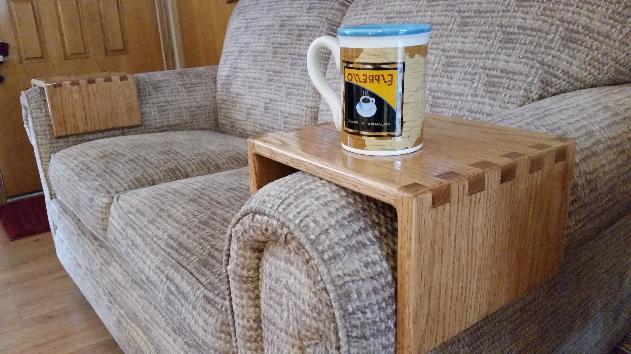 Famous Diy – Sofa Drink Holder Using Simple Box Joints – Youtube Inside Sofas With Drink Tables (View 6 of 15)