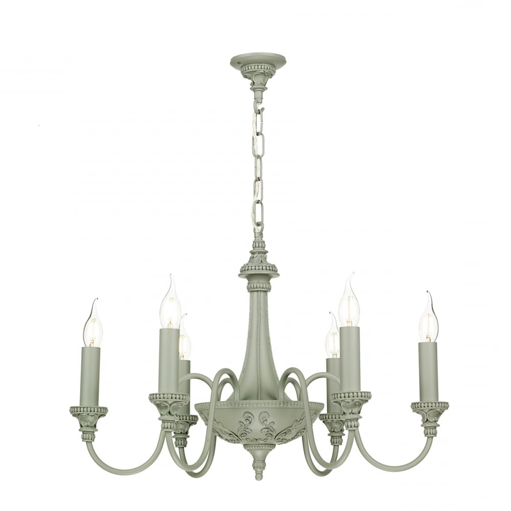 Famous Edwardian Chandelier Regarding Edwardian Style Grey Painted Chandelier With 6 Candle Lights (View 5 of 15)