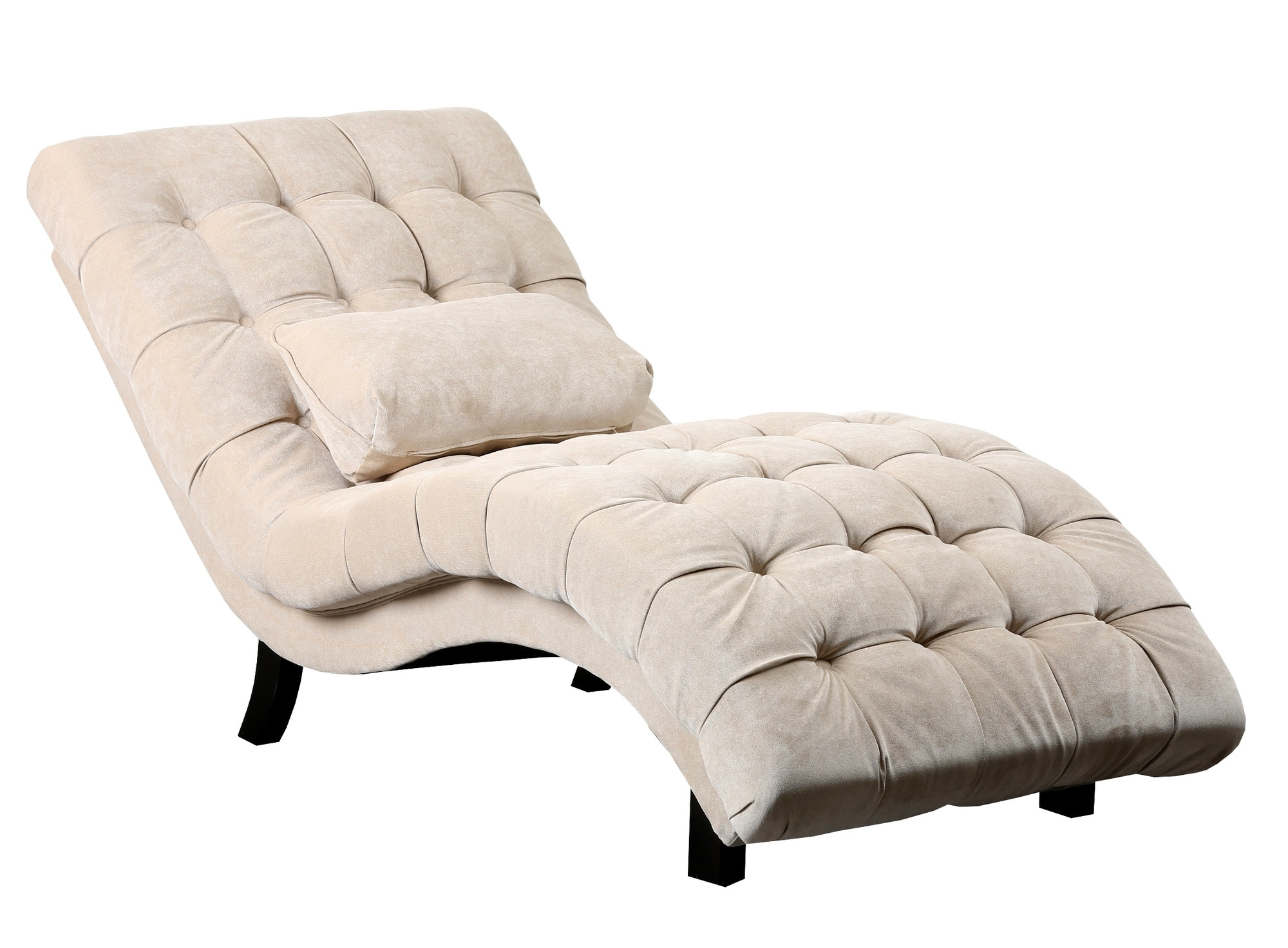 Famous Fabric Chaise Lounges Throughout Furniture: Beige Tufted Chaise Lounge With Lumbar Pillow At (View 15 of 15)