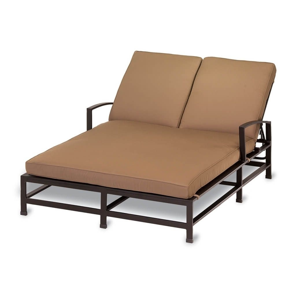 Famous Furniture: Minimalist Outdoor Wicker Double Chaise Lounge With With Regard To Double Chaise Lounge Cushions (View 8 of 15)