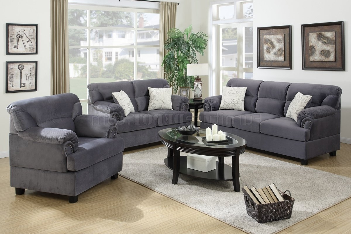 Famous Grey Sofa Chairs Intended For F7916 Sofa, Loveseat & Chair Set In Grey Fabricpoundex (View 4 of 15)