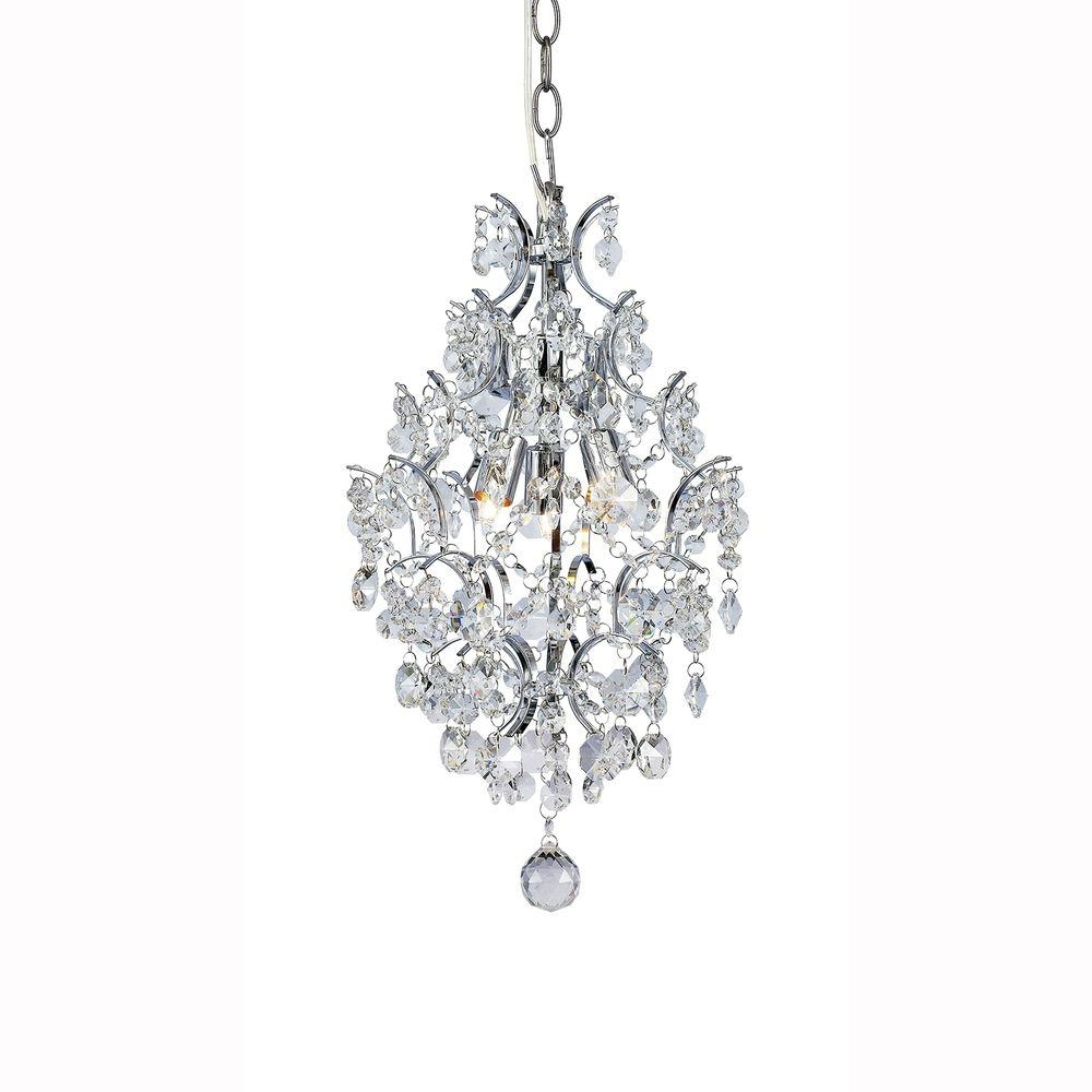 Famous Hampton Bay 3 Light Chrome Branches Pendant With Crystals 1000051534 With 3 Light Crystal Chandeliers (View 7 of 15)