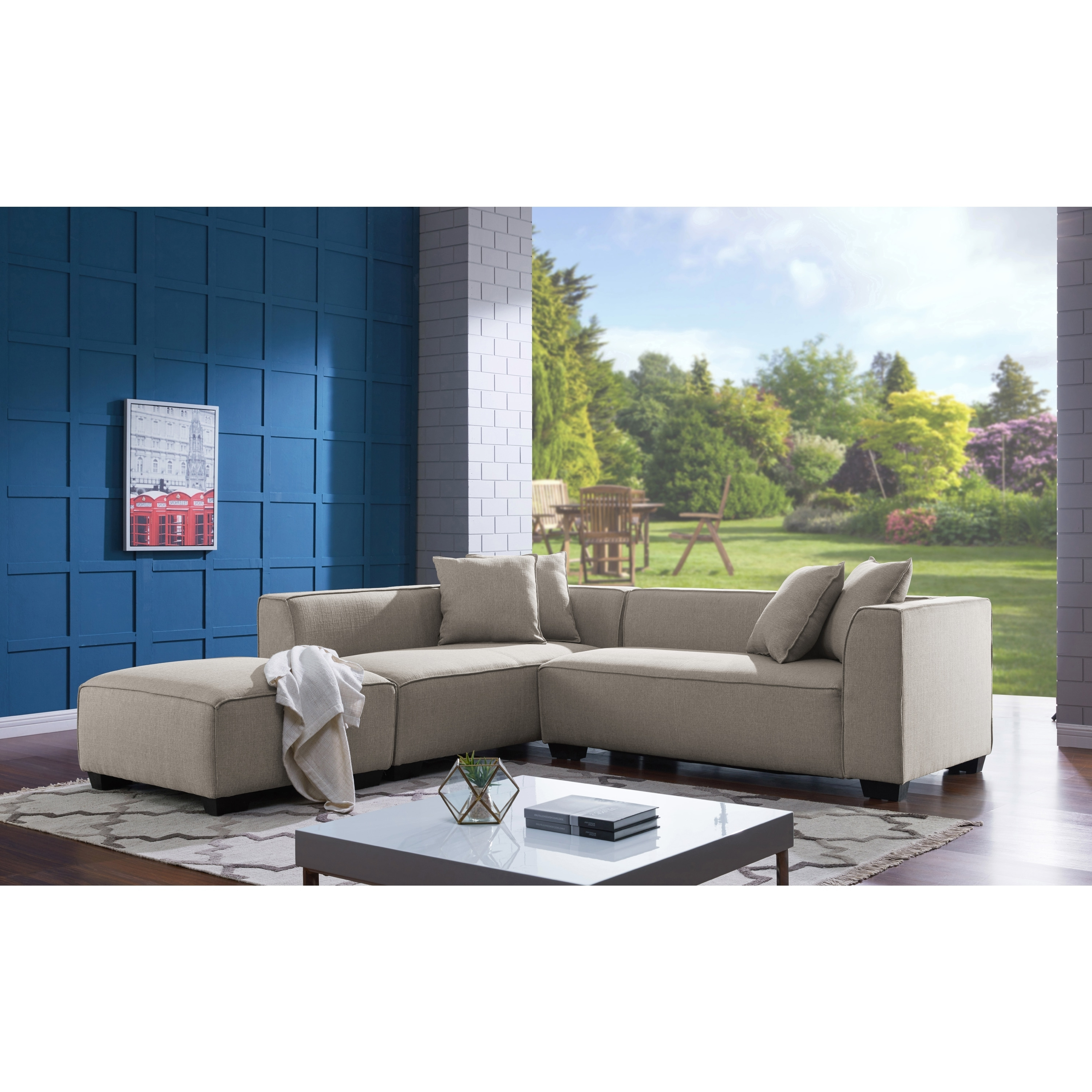 Famous Handy Living Phoenix Barley Tan Sectional Sofa With Ottoman – Free Within Phoenix Sectional Sofas (View 15 of 15)