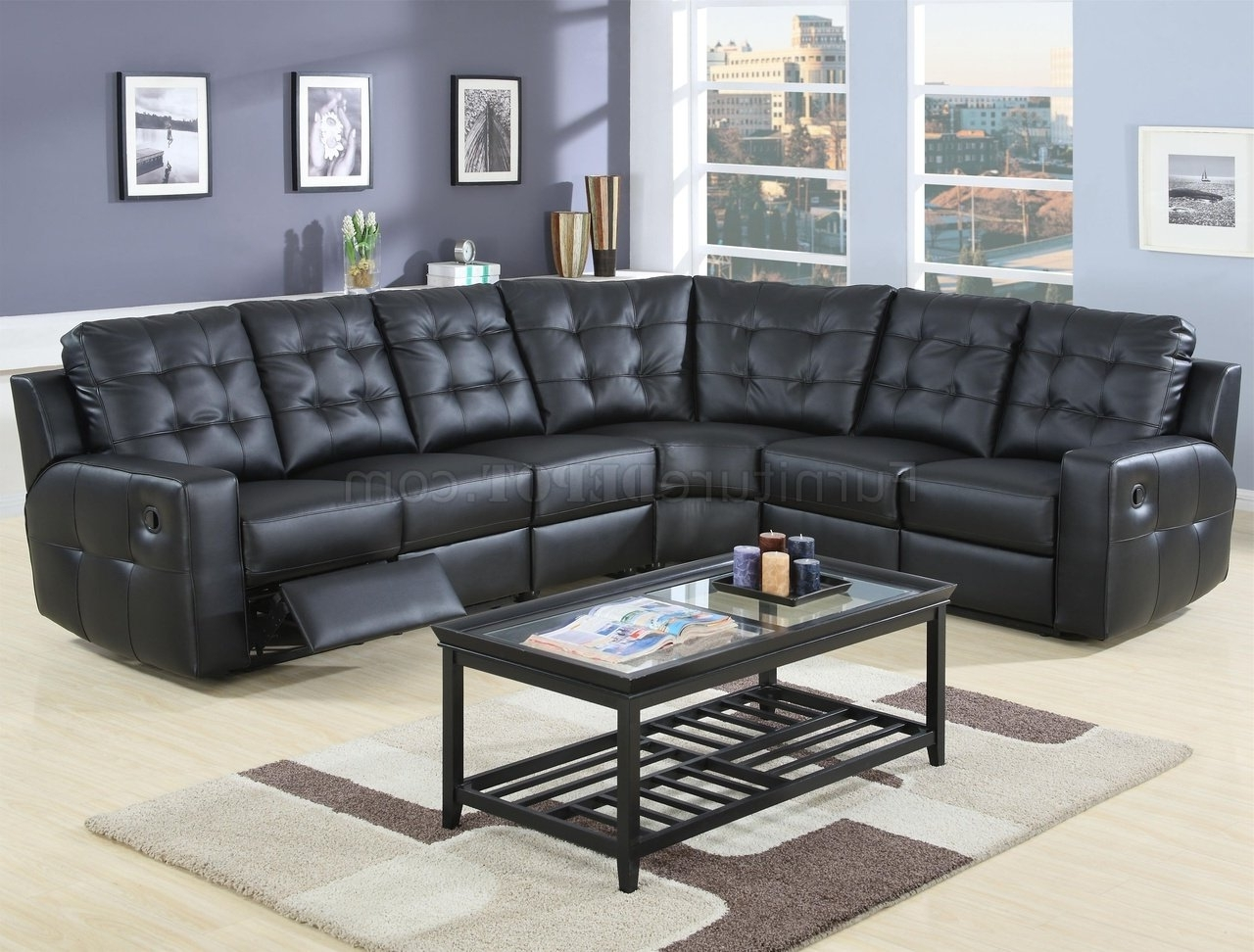 Famous Leather Motion Sectional Sofas For Modern Leather Double Reclining Sectional Sofa 600315 Black (View 4 of 15)