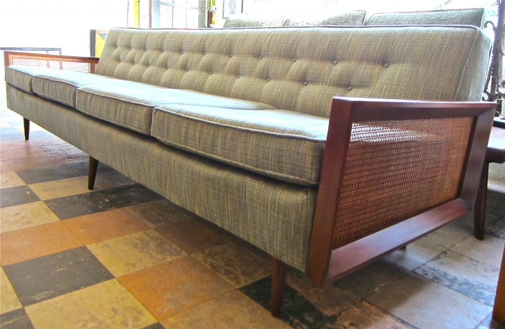 Famous Long Modern Sofas Within Sofa : Furniture: Mid Century Modern Wood Frame Extra Long Bench (View 12 of 15)