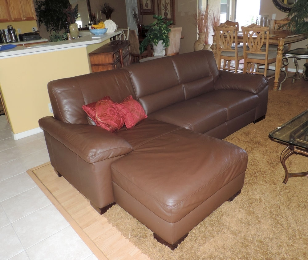 Famous Macy's Italsofa Two Piece Chocolate Leather Sectional Sofa*we Ship Throughout Sectional Sofas At Ebay (View 6 of 15)