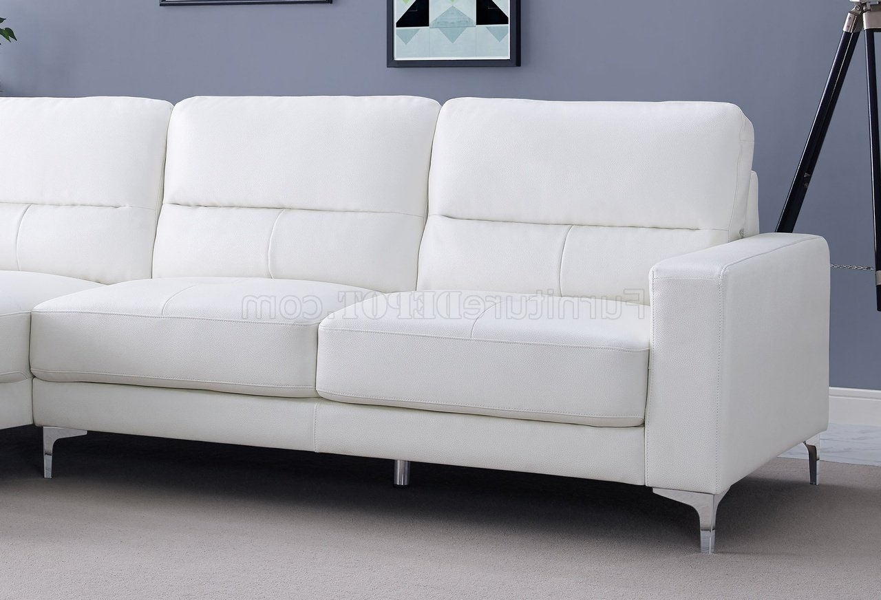 Famous Memphis Sectional Sofas In Sectional Sofa In White Bonded Leatherwhiteline (View 5 of 15)