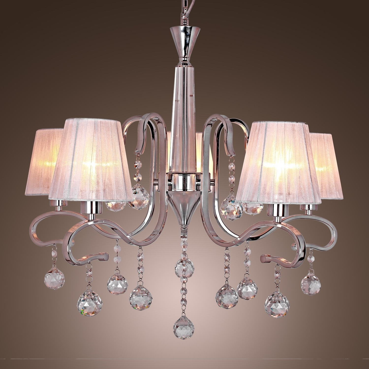 Famous Modern Crystal Chandeliers With 5 Lights White, Ceiling Light With Regard To Crystal And Chrome Chandeliers (View 7 of 15)