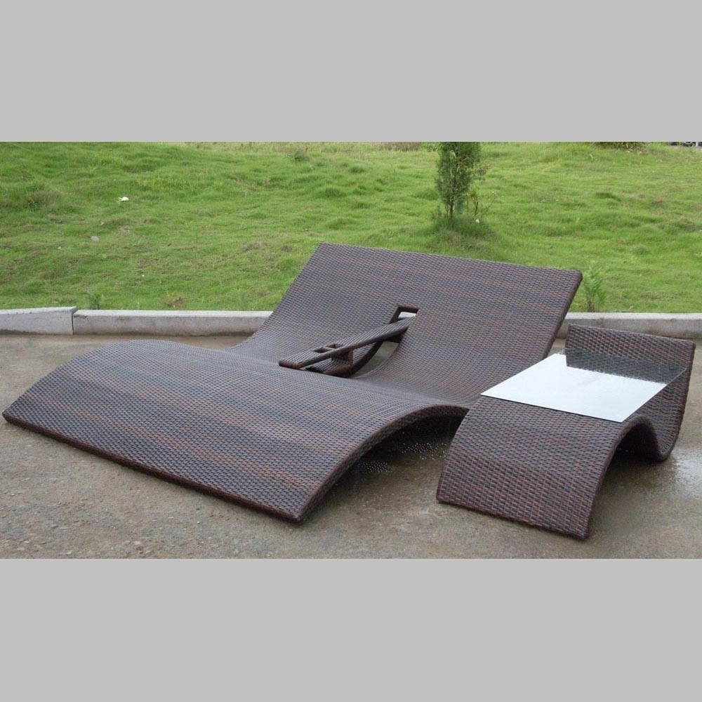 Famous Modern Outdoor Chaise Lounges Inside Tortola Double Chaise Lounge Set (View 4 of 15)