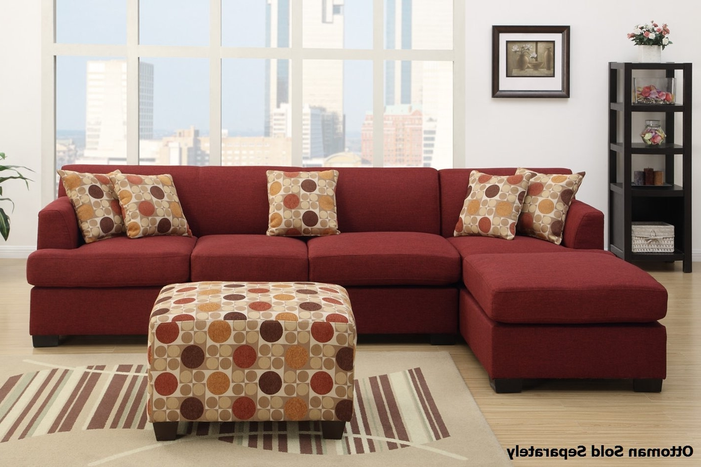 Famous Montreal Sectional Sofas Inside Montreal Iii Red Fabric Sectional Sofa – Steal A Sofa Furniture (View 9 of 15)