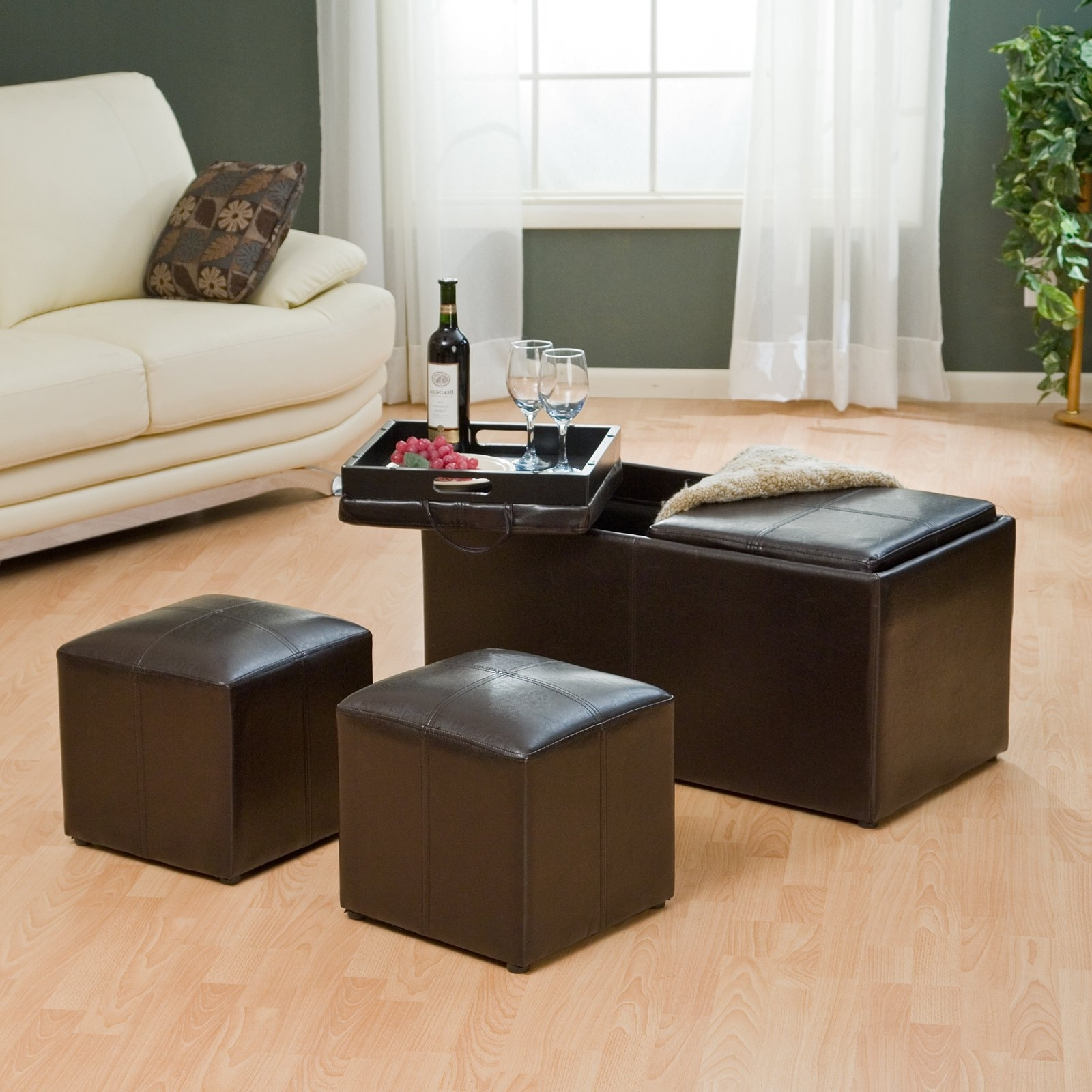 Famous Ottomans With Tray Inside Hartley Coffee Table Storage Ottoman With Tray – Side Ottomans (View 5 of 15)