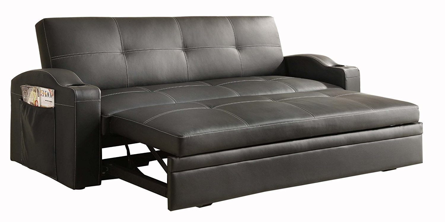 Famous Pull Out Sofa Chairs Intended For Amazon: Homelegance 4803Blk Convertible/adjustable Sofa Bed (View 5 of 15)