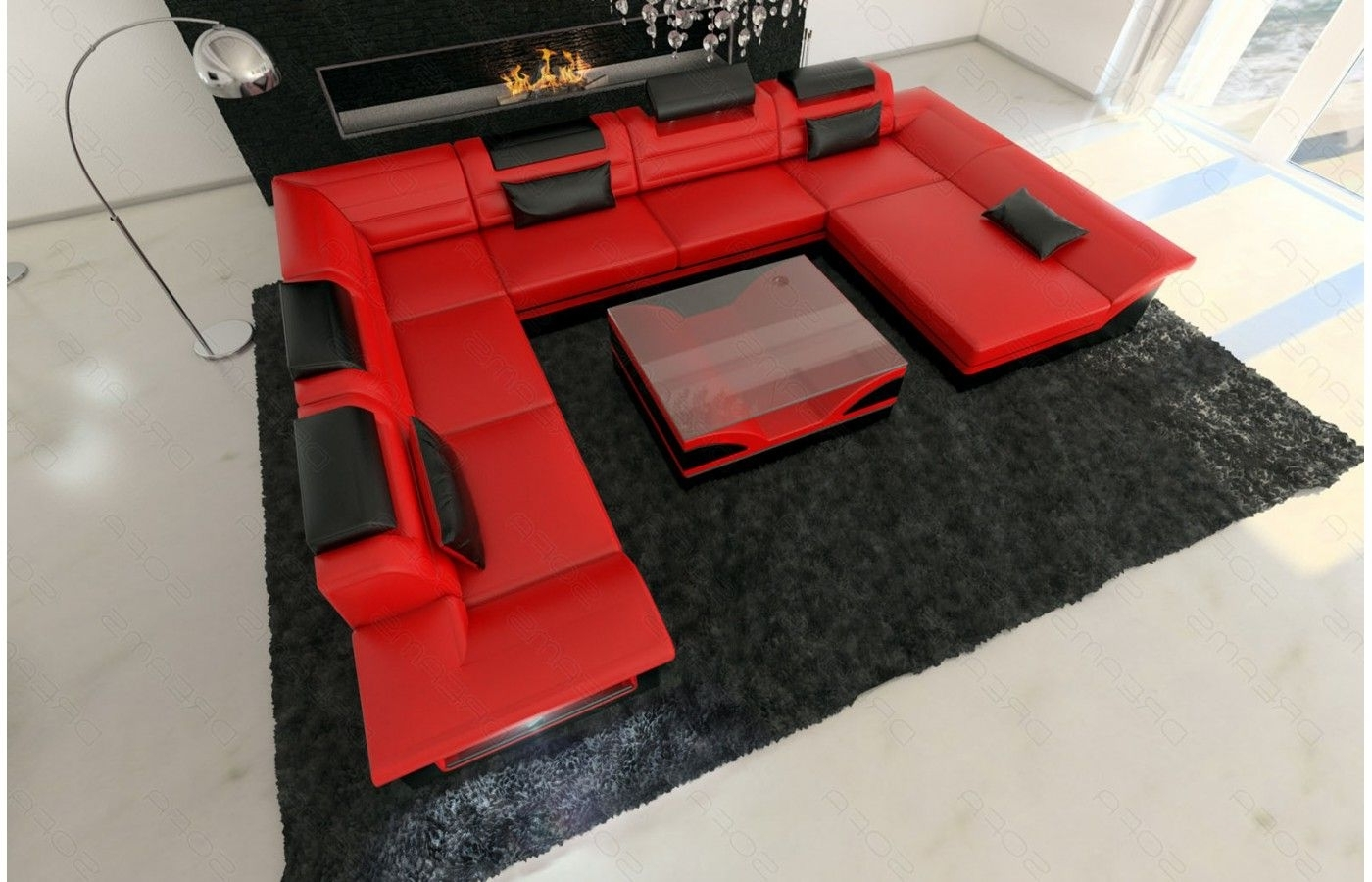 Famous Red And Black Sofas With Regard To Wohnlandschaft Enzo Xxl In Rot Schwarz – Exklusive Designer Möbel (View 6 of 15)