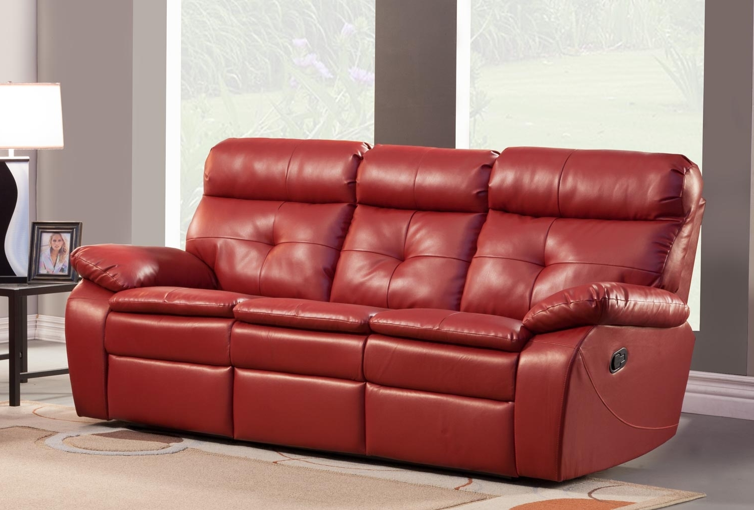 Famous Red Leather Recliner Sofa – Home And Textiles With Red Leather Reclining Sofas And Loveseats (View 3 of 15)