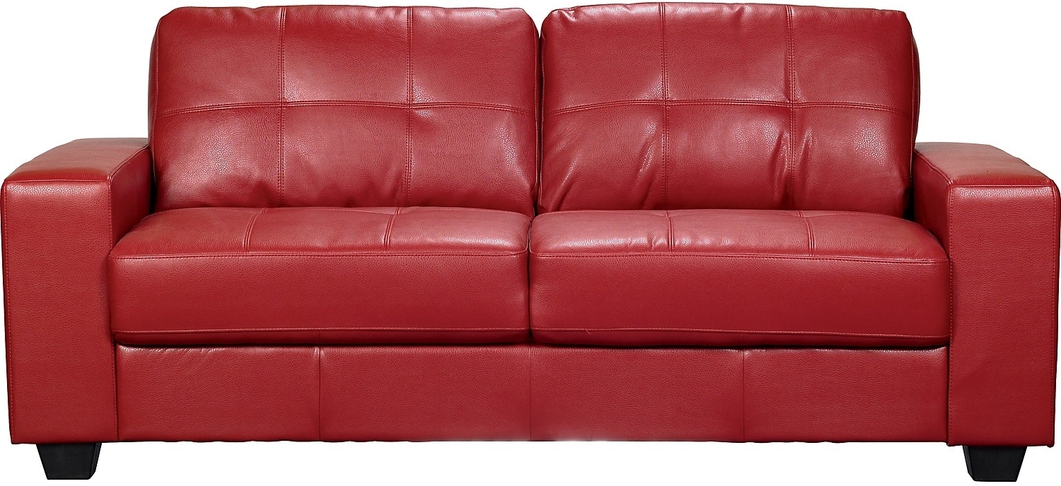 Famous The Brick Leather Sofas Pertaining To Costa Red Bonded Leather Sofa (View 4 of 15)