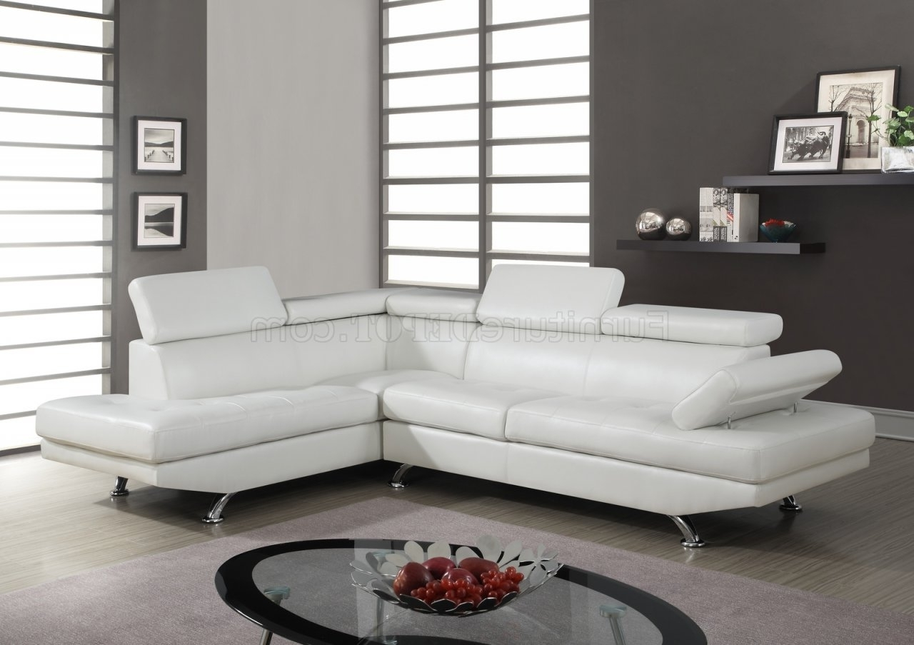 Famous White Sectional Sofas With Chaise With Regard To U9782 Sectional Sofa In White Bonded Leatherglobal (View 10 of 15)