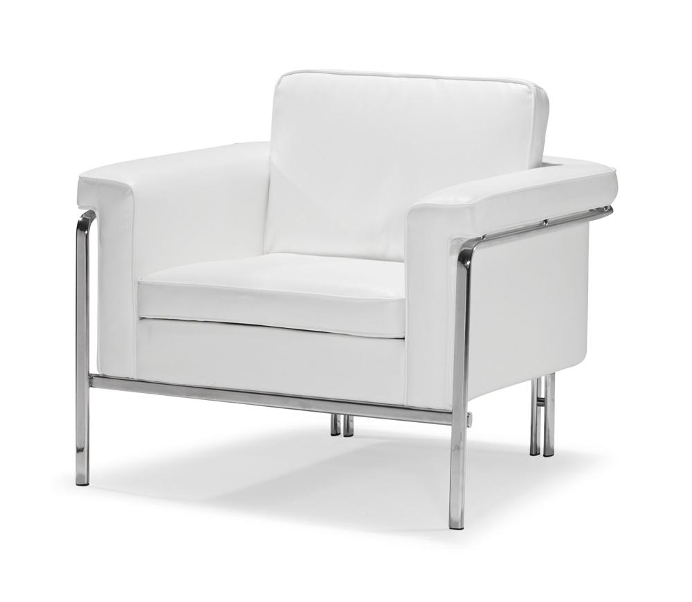 Famous White Sofa Chairs Throughout Modern White Leatherette Sofa Set Single (View 3 of 15)
