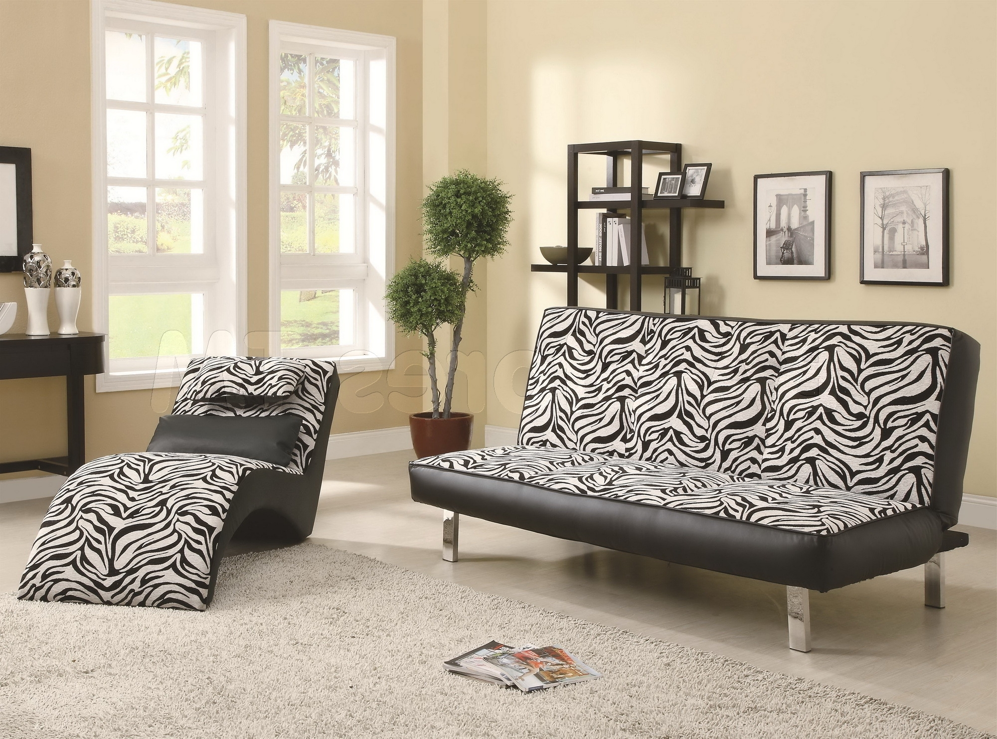 Famous Zebra Chaise Lounges Within Black White Zebra Leather Chaise Lounge Chair On Mocha Fur Rug (View 4 of 15)