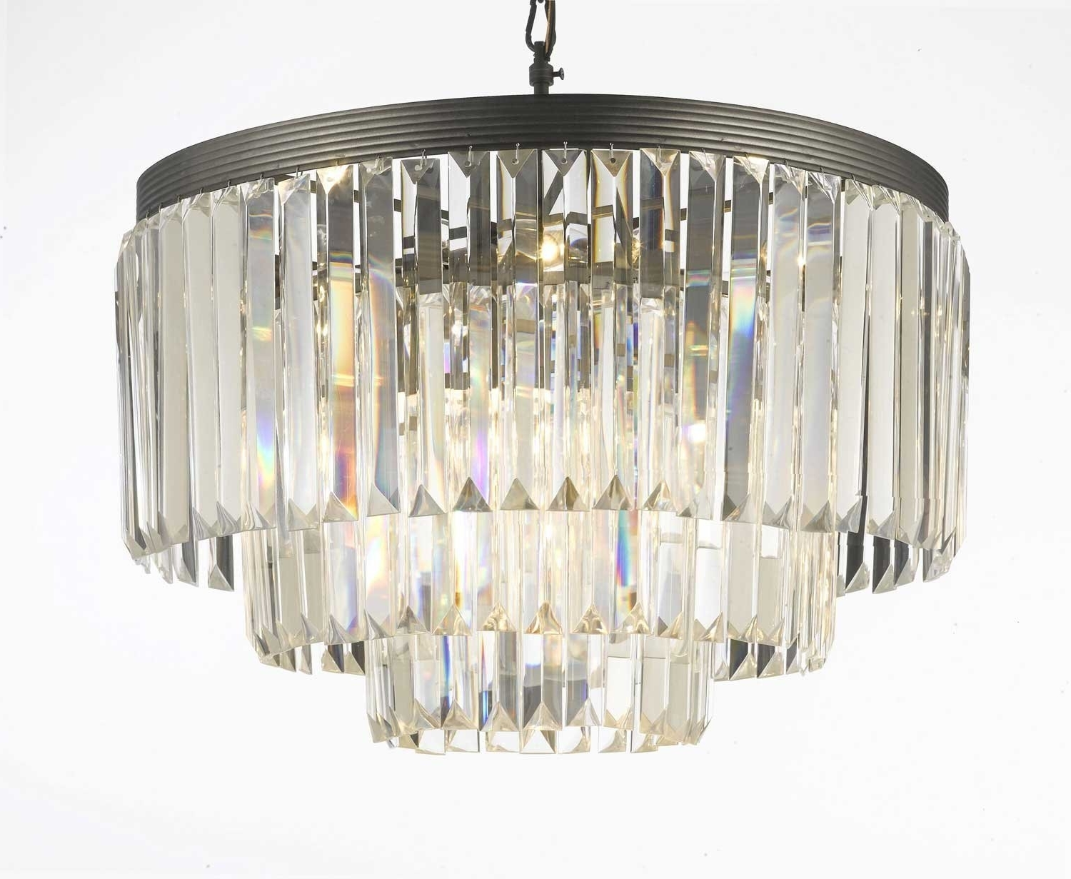 Fashionable 3 Tier Crystal Chandelier In Odeon Crystal Glass Fringe 3 Tier Chandelier Chandeliers Lighting (View 3 of 15)