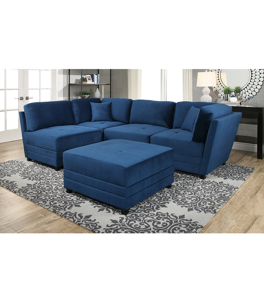 Fashionable Abbyson Sectional Sofas Intended For New Arrivals : Leyla Sectional, Blue (View 13 of 15)