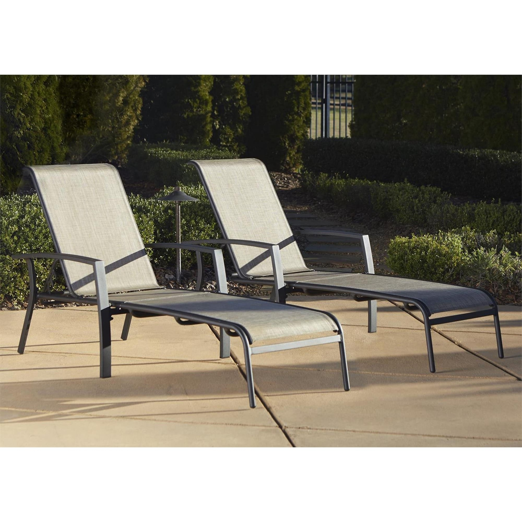 Fashionable Aluminum Chaise Lounge Outdoor Chairs Regarding Cosco Outdoor Aluminum Chaise Lounge Chair (Set Of 2) – Free (View 7 of 15)