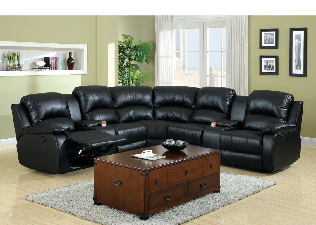 Fashionable Amazon: 3 Pc Wolcott Contemporary Black Bonded Leather Regarding Sectional Sofas With Cup Holders (View 14 of 15)