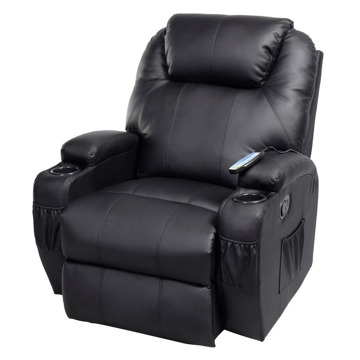 Fashionable Amazon: Ghp Black Sturdy Ergonomic Seating Massage Recliner With Rocking Sofa Chairs (View 6 of 15)