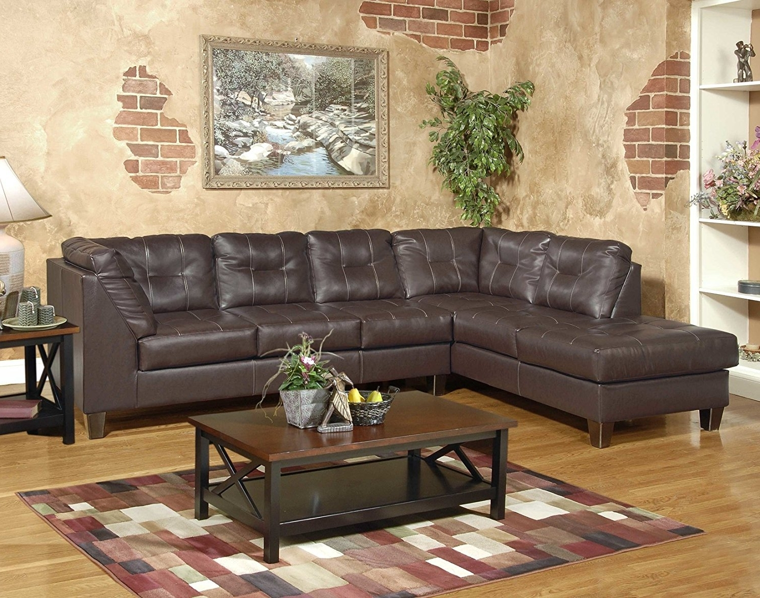 Fashionable Amazon: Roundhill Furniture Marinio Chocolate Faux Leather With Sectional Sofas In Greensboro Nc (View 3 of 15)