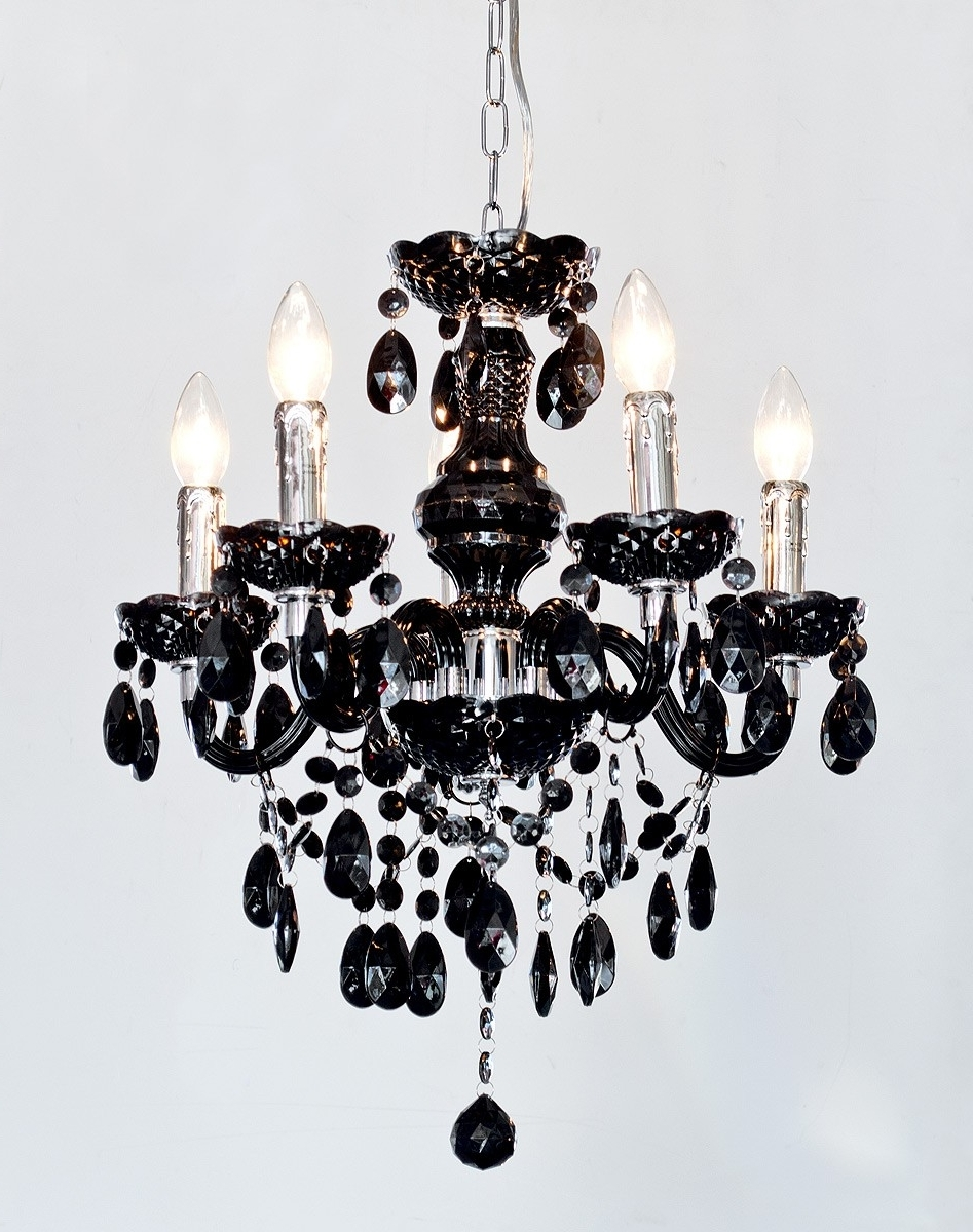 Fashionable Black Chandelier Within Henley Black Crystal 5 Lamp Chandelier – Be Fabulous! (View 13 of 15)