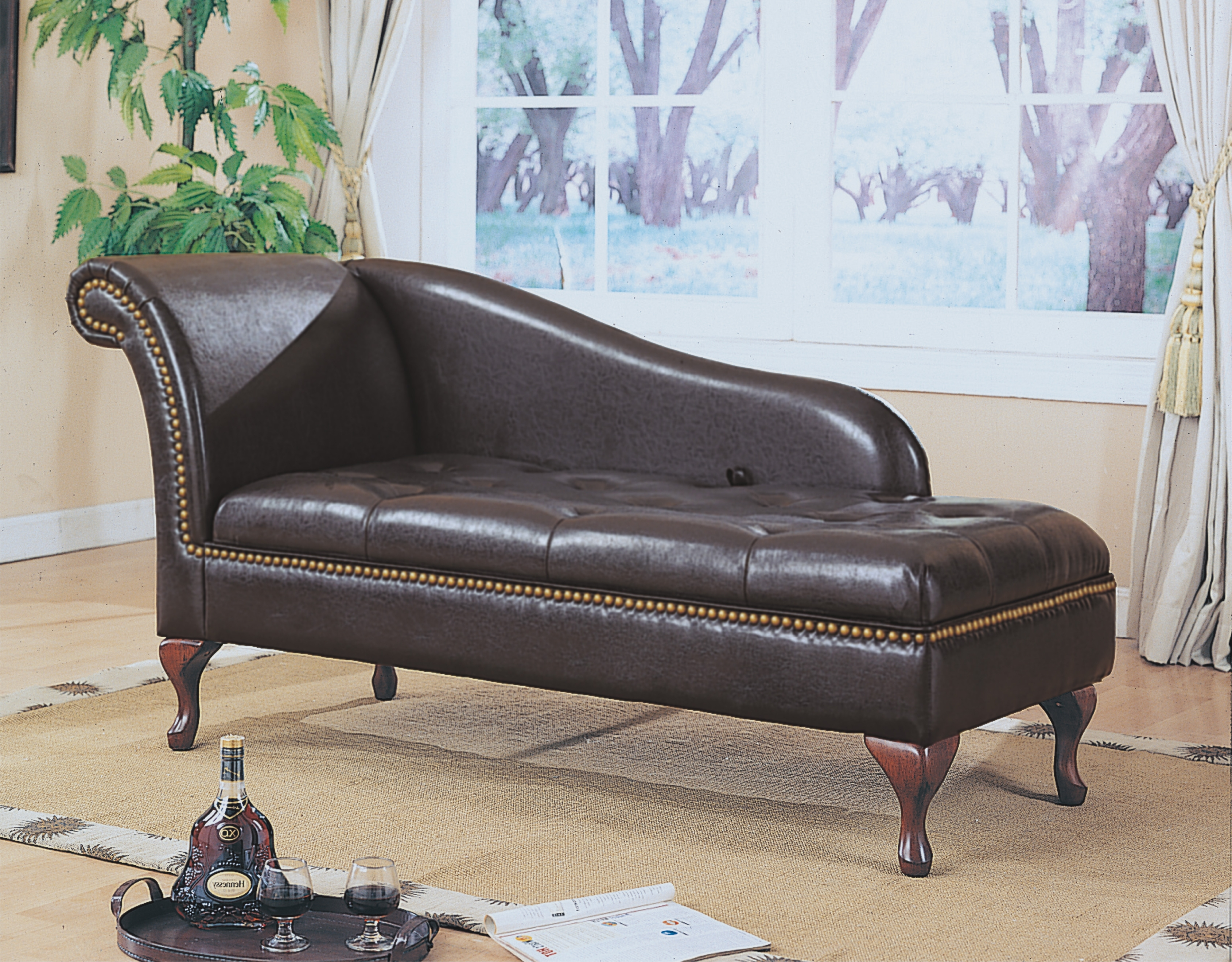 Fashionable Black Leather Chaise Lounges Regarding Dark Brown Leather Sofa Chaise Lounge With Curving Headboard And (View 14 of 15)