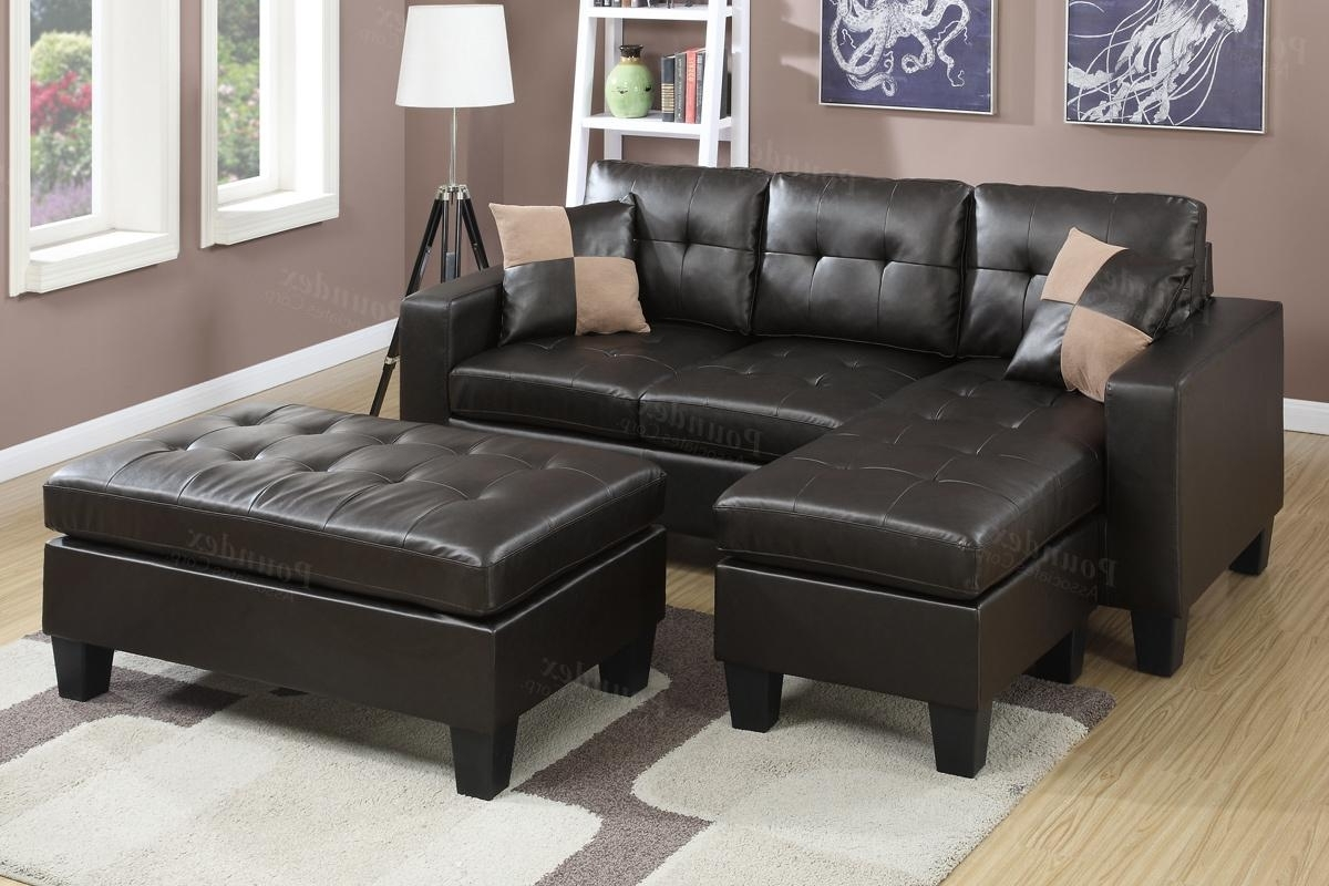Fashionable Brown Leather Sectional Sofa And Ottoman – Steal A Sofa Furniture With Regard To Cheap Sectionals With Ottoman (View 6 of 15)