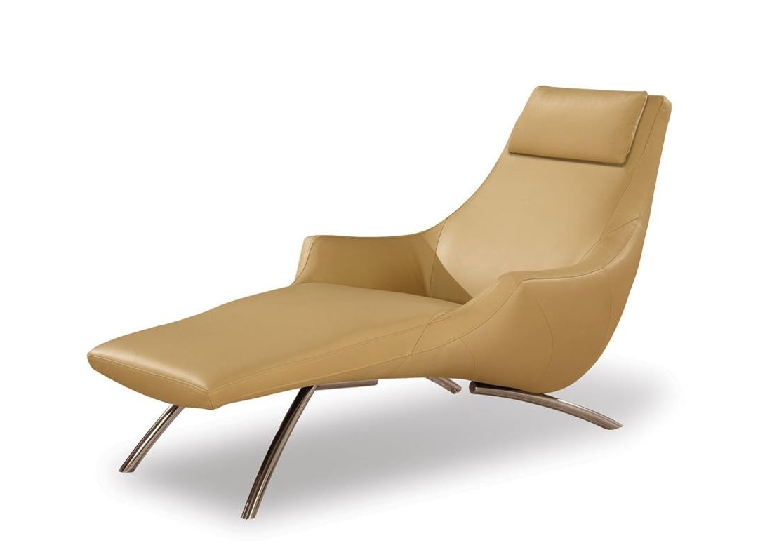 Fashionable Cappuccino Leather Chaise In Modern Leather Chaise Longues (View 5 of 15)