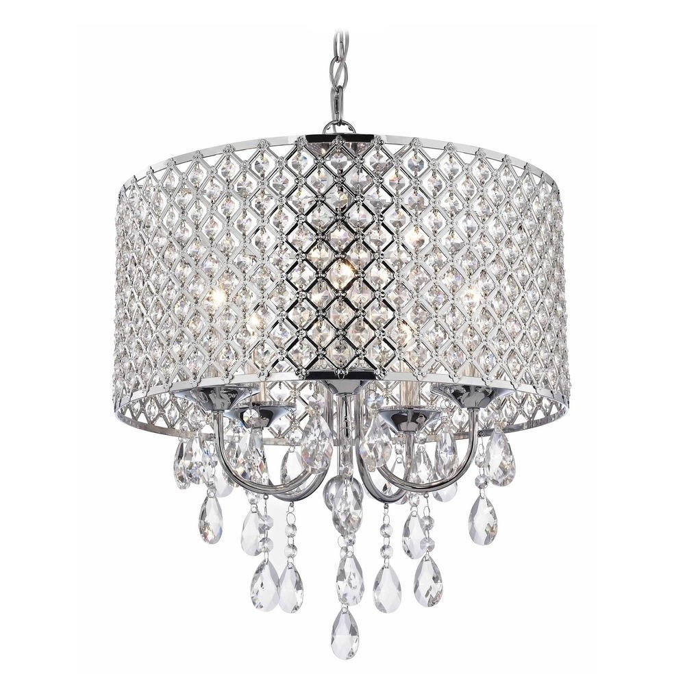 Fashionable Chrome Crystal Chandelier Inside Crystal Chrome Chandelier Pendant Light With Crystal Beaded Drum (View 8 of 15)