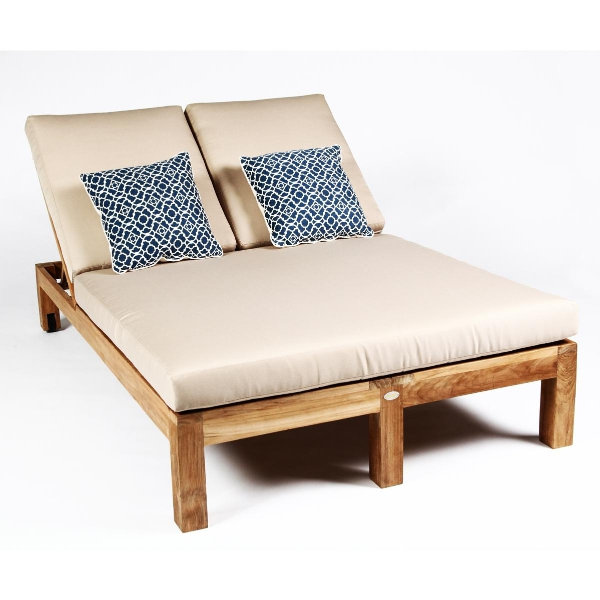 Fashionable Double Chaise Lounge Chairs Intended For Teak Wood Double Chaise Lounge Chair • Lounge Chairs Ideas (View 7 of 15)