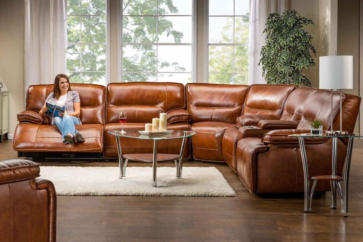 Fashionable Drake Leather Power Reclining Sectional At Gardner White Intended For Leather Recliner Sectional Sofas (View 5 of 15)