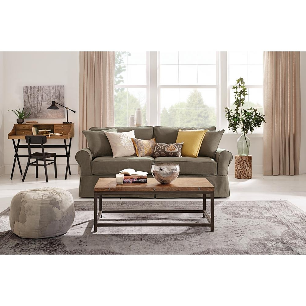 Fashionable Fabric Sofas Pertaining To Home Decorators Collection Mayfair 88 In (View 13 of 15)