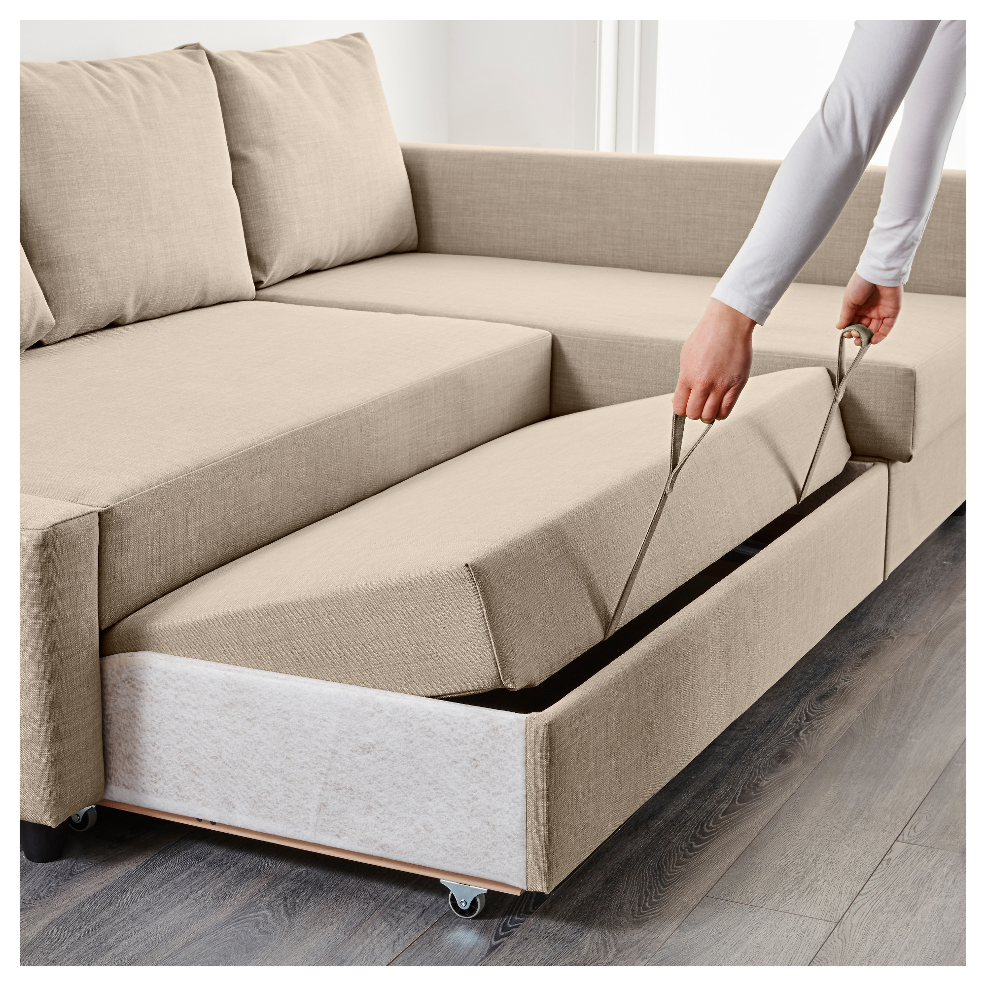 Fashionable Friheten Corner Sofa Bed With Storage Skiftebo Beige – Ikea In Ikea Corner Sofas With Storage (View 4 of 15)