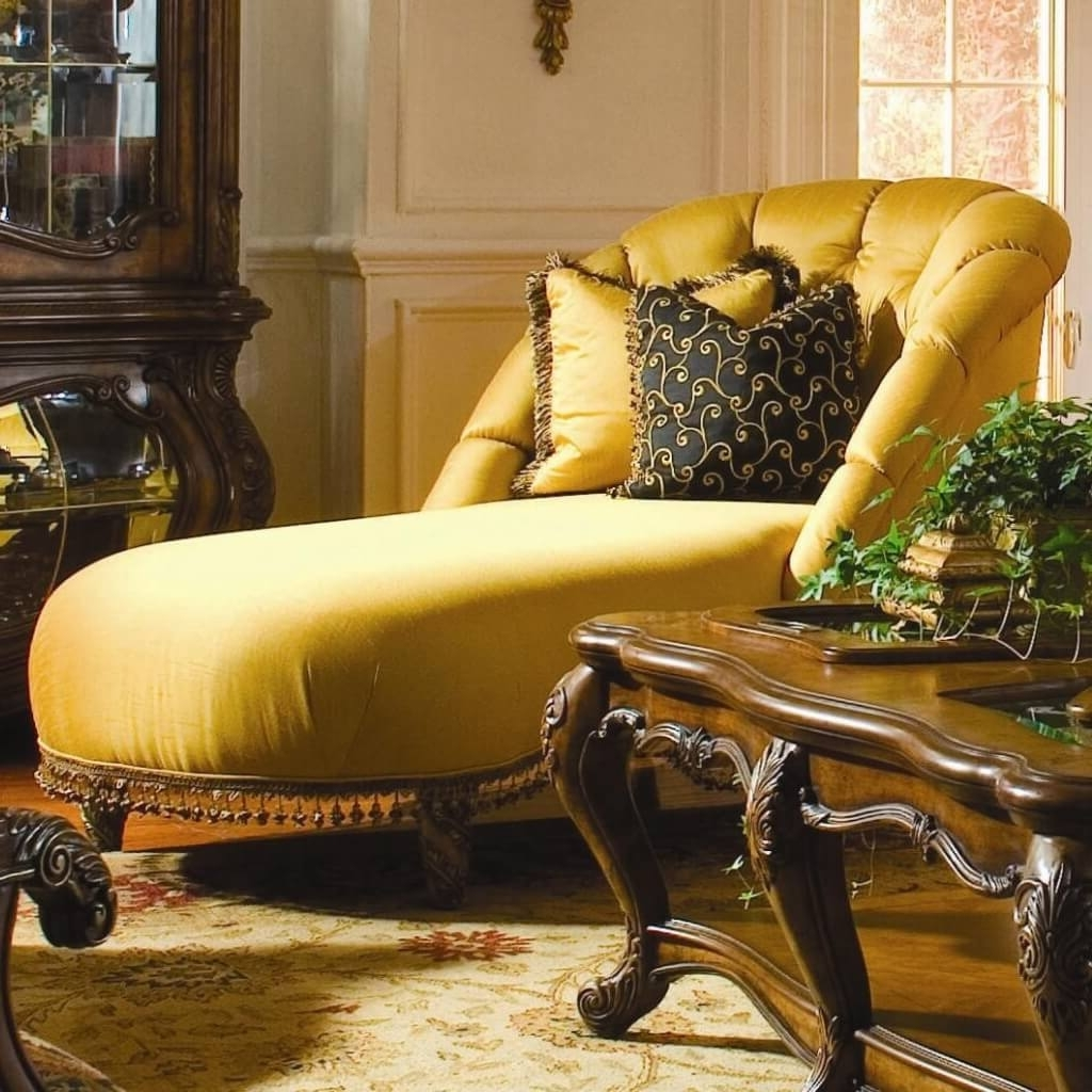 Fashionable Furniture: Oversized Yellow Tufted Chaise Bench With Two Floral Pertaining To Yellow Chaise Lounge Chairs (View 13 of 15)